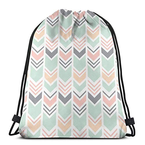 e420132a5b8f Chevron PinkPeachMintGrey_66845 Custom Drawstring Shoulder Bags Gym Bag  Travel Backpack Lightweight Gym for Man Women 16.9