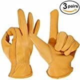 OZERO Work Gloves, Grain Leather Garden Glove for Driving, Wood Cutting, Woodworking, Gardening, Hunting - Good Grip Palm Padding - Elastic Wrist - Perfect Fit for Men & Women - 3 pairs (Large)