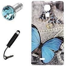 Lusee® Funda de silicona para Cubot P11 5.0 pulgada Suave Cascara TPU mariposa azul