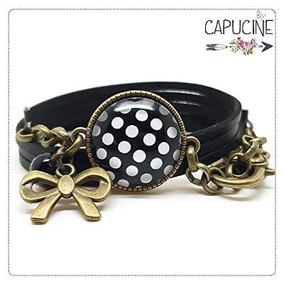 Bracelet noir avec cabochon verre à pois - Bracelet breloques bronze - Bracelet multi-rangs - Pois noirs & Blancs - idée cadeau de Noël, Saint Valentin, fête des mères, cadeau pour elle, anniversaire
