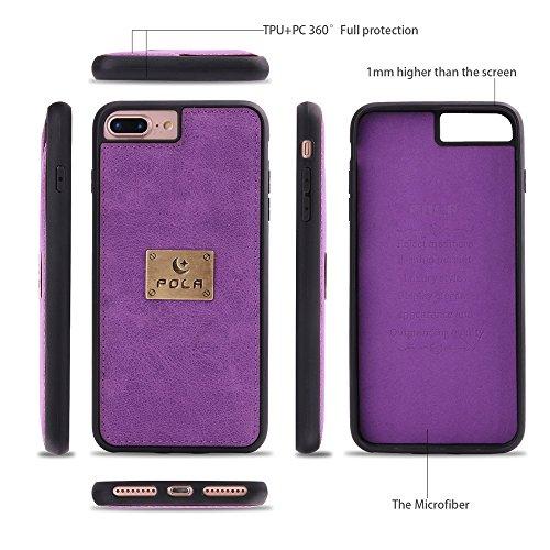 iphone 7 Plus Custodia, iphone 8 Plus Wallet Custodia in pelle,SHANGRUN Multifunzione Custodia a portafoglio in Pelle con Zip Wallet Removibile Magnetica Tasca Case Della Protezione per iPhone 7 Plus/ Viola