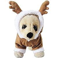 Mascota cachorro perro Navidad Ropa de reno disfraz ropa exterior abrigo ropa sudadera con capucha (X-Small)