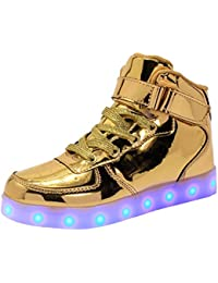 WAWEN Kinder LED leuchten schuhe High Top USB Lade Casual turnschuhe Junge mädchen kind Emitting Klett schuhe Halloween Weihnachten Rot 27 a26T1