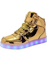 WAWEN Kinder LED leuchten schuhe High Top USB Lade Casual turnschuhe Junge mädchen kind Emitting Klett schuhe Halloween Weihnachten Rot 27