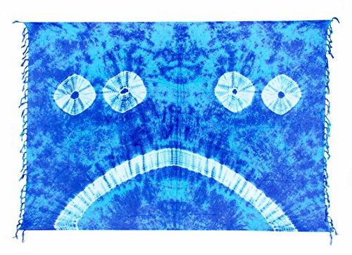 Sarong ca. 170cm x 110cm Handbemalt Tie Dye Batik inkl. Sarongschnalle im Runden Design - Viele exotische Farben und Tie Dye Muster zur Auswahl - Pareo Dhoti Lunghi Tie Dye Blau