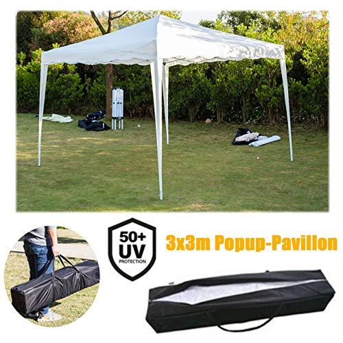 Huini 3x3m Pavillon Pop-Up Faltpavillon (Ohne Seitentei) Garten Party Zelt UV-Schutz 50+ Wasserdicht Robust Rahmen inkl.Tasche -Weiß