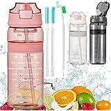 Waterfles met Rietje Drinkfles met tijdmarkering BPA Gratis sportfles, lekbewijs fietsfles voor kinderen Gym Camping Yoga Fit