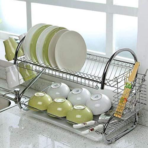 Beesclover Égouttoir à vaisselle 2 couches en acier inoxydable Grande capacité
