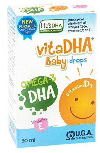 VitaDHA® Baby Drops - 100 mg / ml LifesDHA pflanzliches DHA und Vitamin D3 für Neugeborene (0-12 Monate) | Aromamilch / Sahne 30 ml Flasche (1 Monat) mit Tropfer. (Neugeborenen-vitamine)