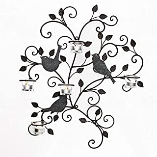 Adeco HD0024 Decorative Iron Wall Hanging Tea Light Candle Holder, Birds & Branches, Black