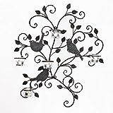 Adeco hd0024Dekorative Eisen Wand-Teelichthalter, Vögel und Zweige, schwarz