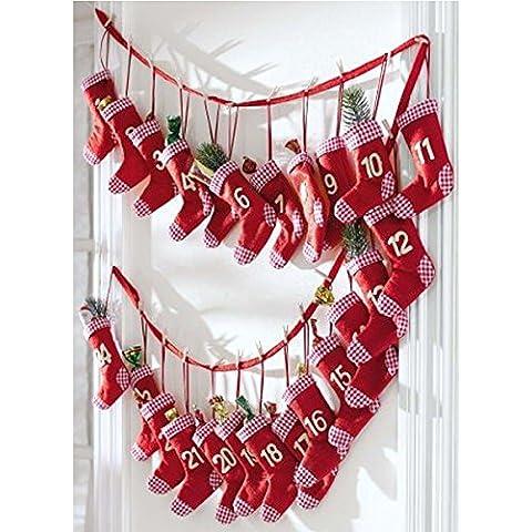 Calendario de Adviento Calcetines Rojos para Rellenar uno ismo, Calcetines Rojos