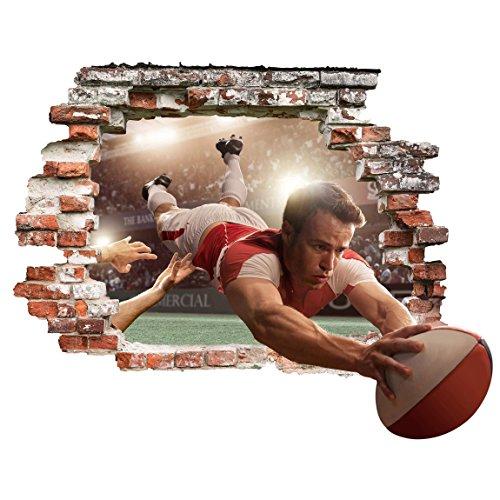 Bilderwelten 3D Wandtattoo - Rugby Action - Quer 3:4, Größe: 120cm x 160cm - 3/4-rugby