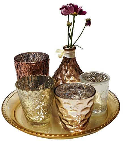 khevga Juego de 6 portavelas de Cristal, Juego de decoración Oriental