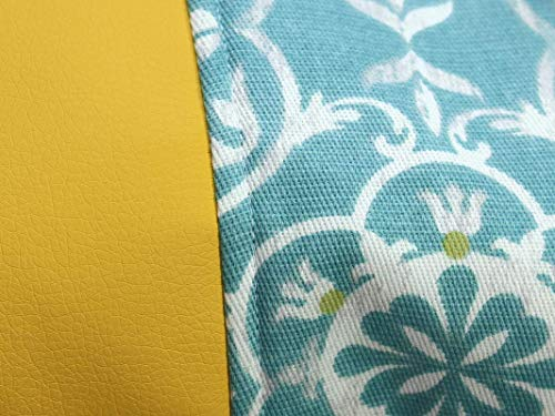 Blau gelber Rucksack / Seesack mit ethno Mandala Motiv. Aus hochwertigem Canvas mit weißer Kordel. Vegane Yoga - Sporttasche - 4