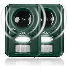 Gardigo Repellente Ultrasuoni a batteria o ad energia solare - Set di 2 pezzi | a frequenza regolabile | Dissuasori per allontanare cani, gatti, volatili, martore, procioni | con puntale per interrame
