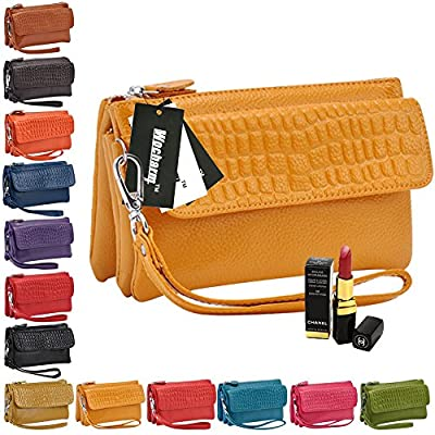 Wocharm Soft Leather Women's Large Capacity Leather handbags Wristlet Wallet Clutch With Shoulder Strap Wrist Strap Fit IPhone 6/7 Plus