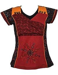 T-Shirt Thaina Manches Courtes Imprimé géométrique Rouge