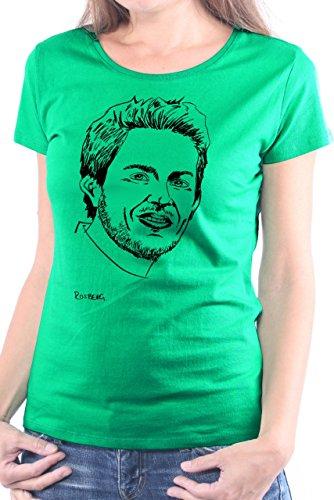 Mister Merchandise Donne Donna Camicetta T-Shirt Nico Rosberg , Ladies Tee Taglia: XS, Color: Verde