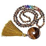 QGEM 108 Perles Bracelet Multi Tour/Mala/Grain de Chapelet/Collier Long Bouddhiste...