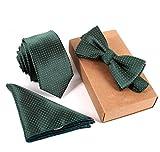 SKNSM Gentleman Herrenmode Business Dots Krawatte Taschentuch Fliege Set für Krawattensets (Farbe : Green, Größe : Einheitsgröße)