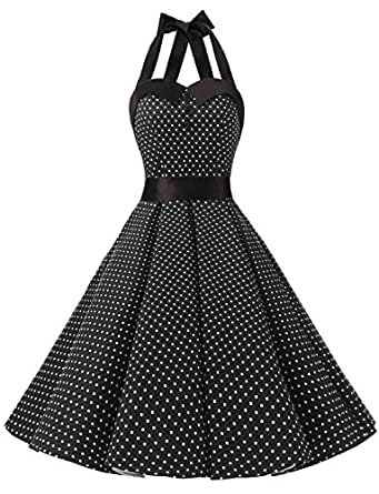 Dressystar Vintage Polka Dot Retro Cocktail Prom Dresses 50's 60's Rockabilly Bandage Black XS