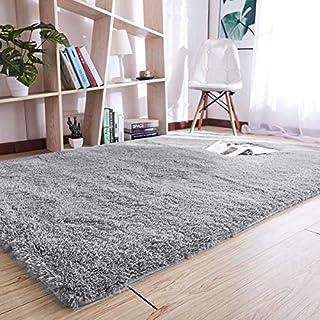 YJ.GWL Super Soft Indoor Area Rug Modern Shaggy Carpet Silky Fluffy Anti-Skid Fur Rug Blanket for Bedroom Living Room Kids Decor Floor Sitting Room Grey 120x160 cm