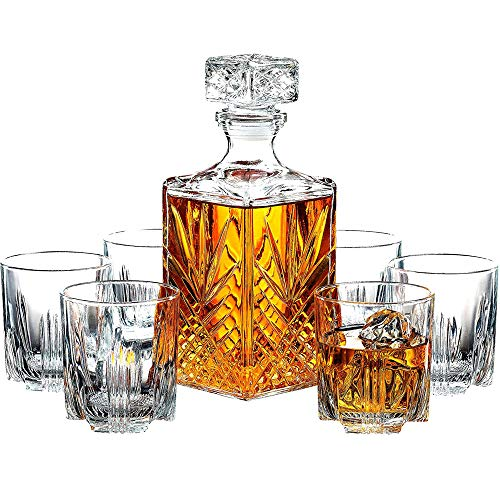 LARRY SHELL 7-Piece European Style Whiskey Decanter und Glass Set Elegant Whiskey Decanter mit Ornate Stopper und 6 Exquisite Cocktail-Gläser Glas Cocktail Decanter