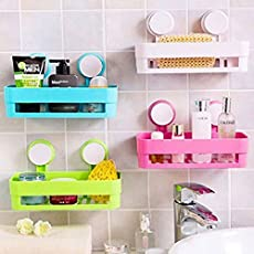 R Dabhi Plastic Bathroom Shelf Kitchen Storage Box Organizer Basket with Wall Mounted Suction Cup (Multicolor)