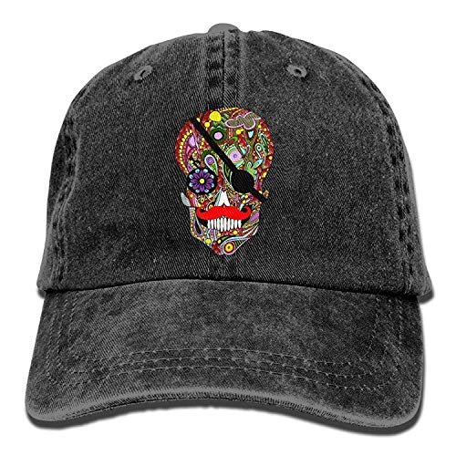 Funny&shirt Sugar Skull Pirate Unisex Washed Twill Cotton Baseball Cap Vintage Adjustable Dad Hat