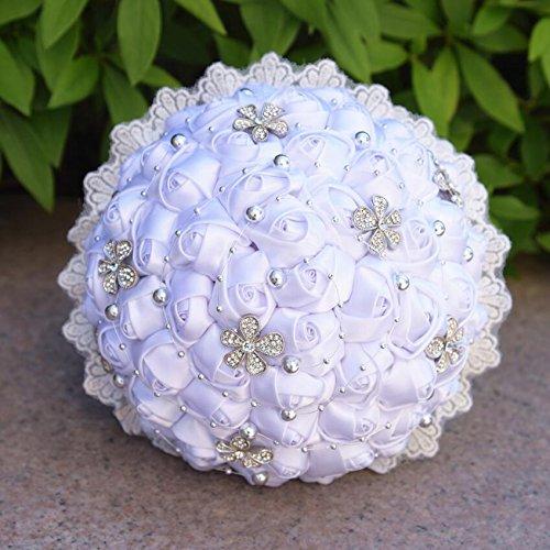 Perlen Blumen Stil Künstliche Blumen Seidenblumen Kristall Rosen Brautjungfer Hochzeit Brautstrauß Hochzeitsgeschenk ( Color : Weiß )