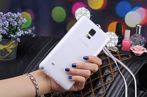 Vandot Samsung Galaxy Note 4 Coque de Protection Etui Transparent Antidérapant Pour Samsung Galaxy Note 4 Etui Protection Dorsale Étui Slim Invisible Housse Cover Case en TPU Gel Silicone Hull Shell-B Oreilles-Blanc