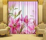 H&M Gardinen Vorhang Große Lilie EIN Warmer Schatten Tuch UV-Druck 3D dekoriert Schlafzimmerfenster Vorhänge fertig, Wide 3.2X high 2.7