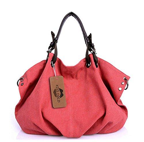 KISS GOLD (TM) Tissu Sac à Main/Epaule/Bandoulière/Porté Travers Large Capacité pour Filles/Femmes 56x36x16cm(Rouge)