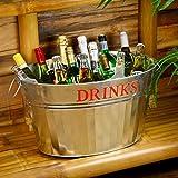 """Verzinkte Stahlwanne, Minibar für Parties mit aufgedrucktem Text """"DRINKS"""" für althergebrachte Präsentation von Getränken"""