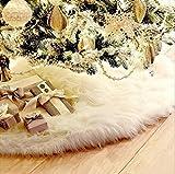 Deggodech Doux Peluche Arbre de Noël Jupe Blanc Neige Décorations d'arbre de Noël Tapis Vacances Couvre Pied Sapin Noel (90cm)