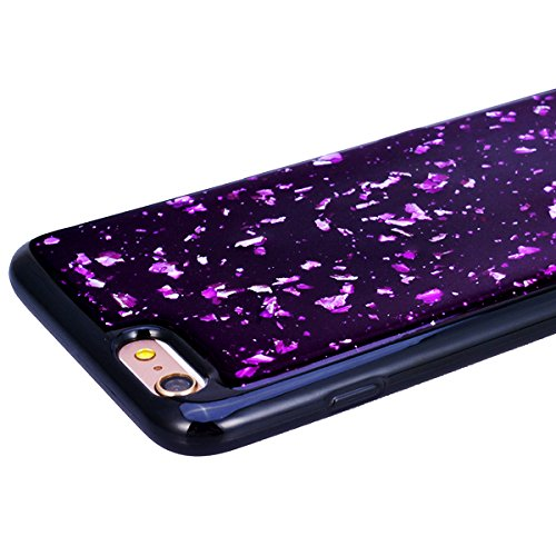 WE LOVE CASE iPhone 6 / 6s Cover Glitter Nero Argento iPhone 6 / 6s Custodia Case Silicone Soft Flessibile Elegant Belle Protettiva , Antiurto Ultraslim Bumper , TPU Gel Gomma Morbido Protezione , Gir purple