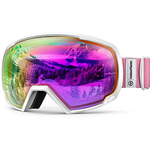 Premium Skibrille, Outdoormaster Snowboardbrille Schneebrille OTG 100% UV-Schutz, Helmkompatible Ski Goggles für Damen&Herren/Jungen&Mädchen(Weißer Rahmen+ VLT 45% Violettes Linse mit vollem REVO Rot)