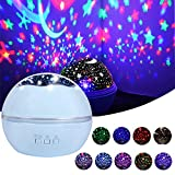 Star Night Light Projector, Romantic Rotating Sea Animals Star Moon Cover Projector Colorful