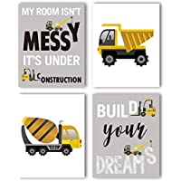 """KARTME Construction Trucks Picture Cartoon Construction Transport Vehicle Art Print Set of 4 (10""""X8""""Canvas Funny&Inspirational Words Poster Painting for Nursery or Kids Boy Room Home Decor,No Frame"""