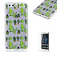For Huawei P10 Case [with Free Screen Protector],Funyye Fashion lovely Lightweight Ultra Slim Anti Scratch Transparent Soft Gel Silicone TPU Bumper Protective Case Cover Shell for Huawei P10 - Cactus