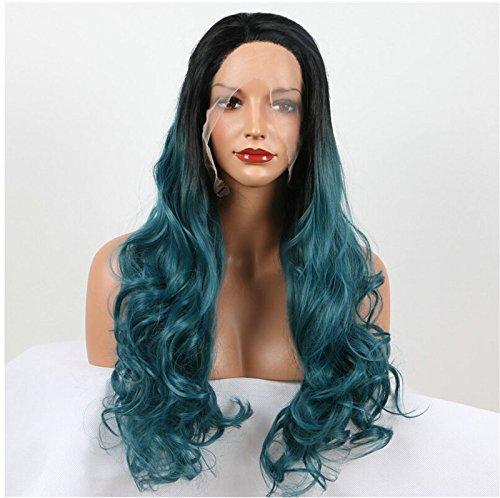 Ombre Vert Perruque lace front Cheveux synthétiques 2 tons Couleurs pour femme Long ondulés perruque résistant à la chaleur Fibre avec racines foncées