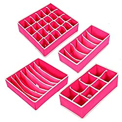Deziredeal Set of 4 Foldable Storage Box type Non-Smell Drawer Organizer Closet Storage for Socks Bra Tie Scarfs - pink