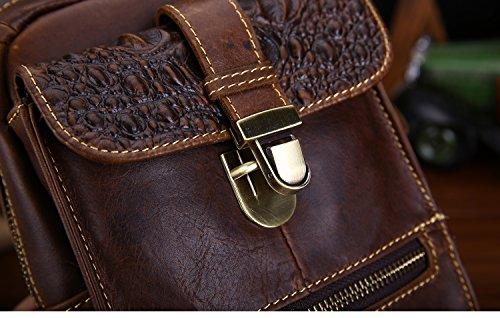 Uomo Pacchetto Della Cassa Borsa Da Viaggio In Pelle Per Modello Coccodrillo Confezione Da Torace Crossbody Marrone