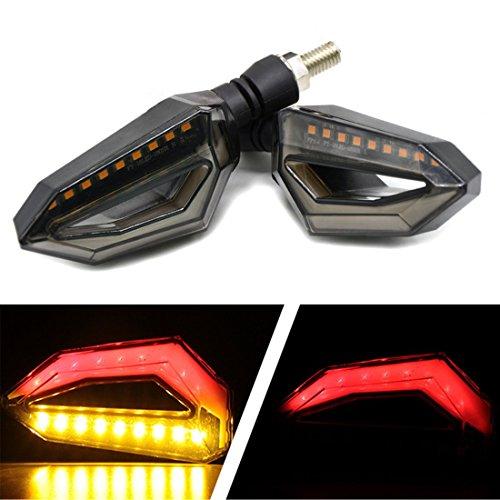 FEZZ Indicatori di Direzione LED Ambra Frecce Motociclo Lampade Luci Marcia Diurna Rosso Universali Illuminazione per Yamaha R1 R6 FZ6 FZ1 FZ FJR Fazer XT WR TT-R (Confezione da 2)