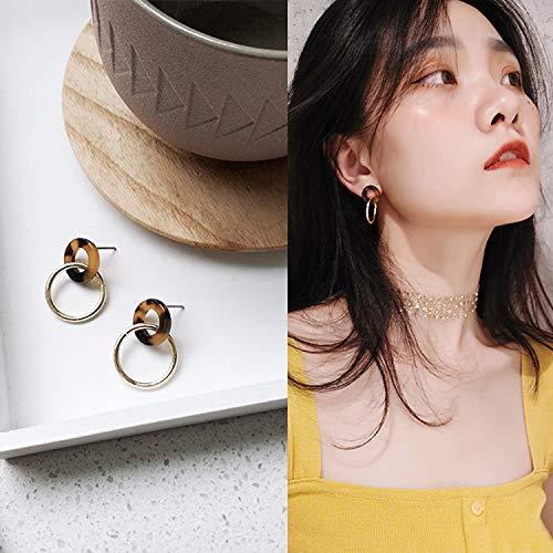 Chwewxi Sinnliche Ohrringe Super Fairy Korean Temperament Wilde Ohrringe Ohrringe weiblich, orange 45 Acetat Ring Ohrringe