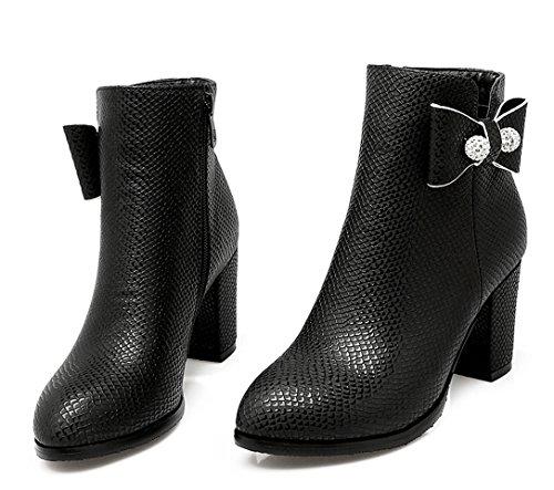 YE Damen Chunky High Heels PU Leder Stiefeletten mit Blockabsatz und Schleife Glitzer Strass Bequeme Elegant Herbst Winter Boots Schuhe Schwarz