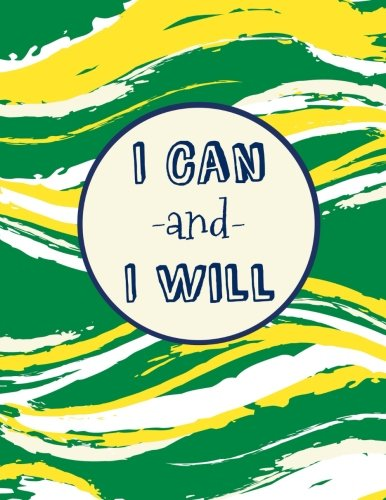 I Can and I Will: 100 Pages Ruled, Notebook, Journal, Diary, Green/Yellow Watercolor