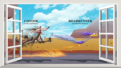 road-runner-wile-e-coyote-v001-magic-fenetre-sticker-mural-autocollant-art-poster-taille-1000-mm-x-6