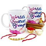 Hot Muggs Rakhi Gift - World's Greatest Bhaiya and Bhabhi 2 Mugs Set with Rakhi and Lumba